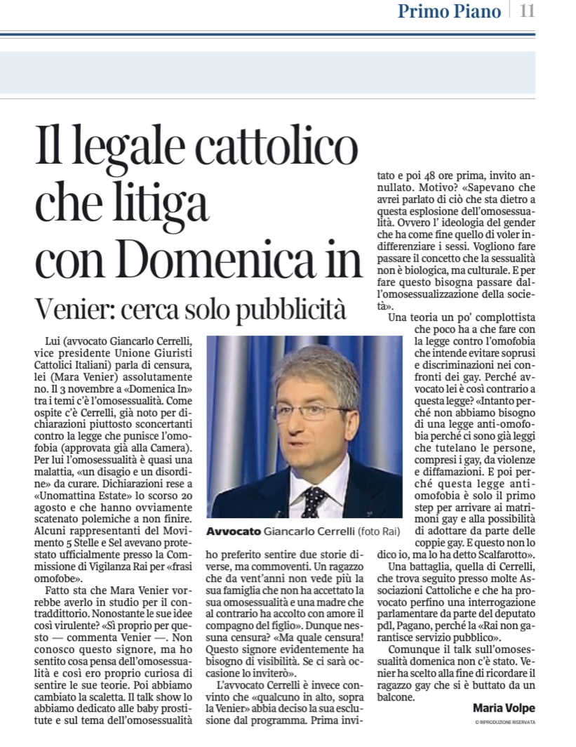 Il Legale Cattolico che litiga con Domenica in. Corriere della sera 6novembre 2013
