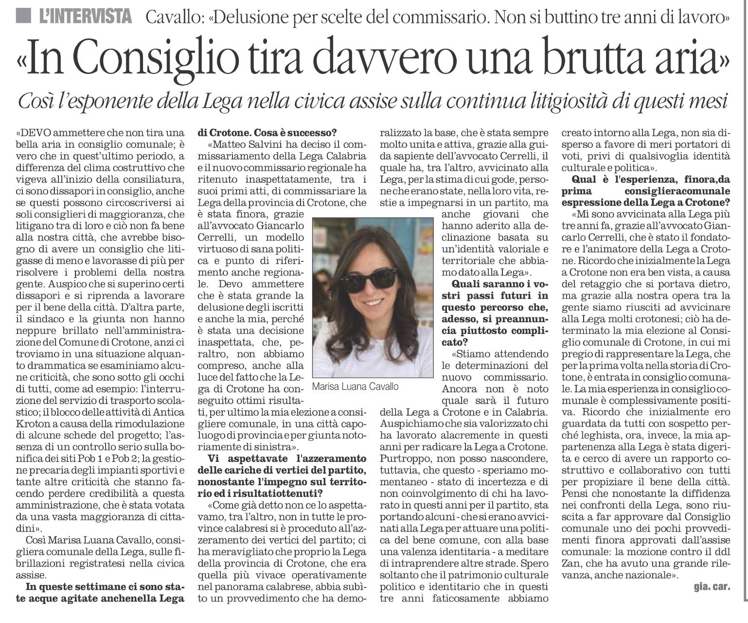 Cavallo (Lega Crotone): delusione per le scelte del commissario. Non si buttino tre anni di lavoro.