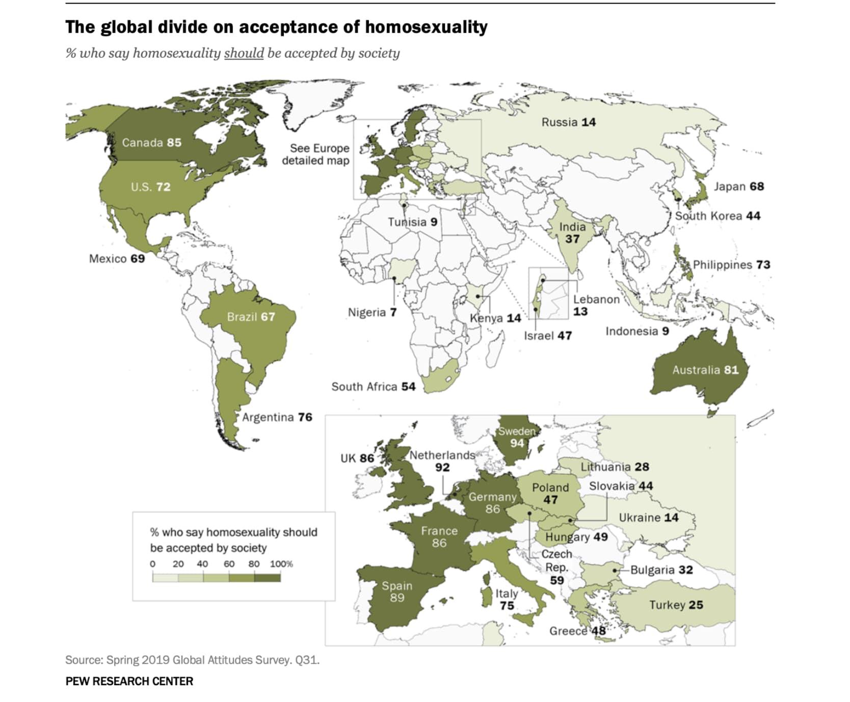 La mappa del Pew research center che afferma che l'Italia non è un Paese omofobo.