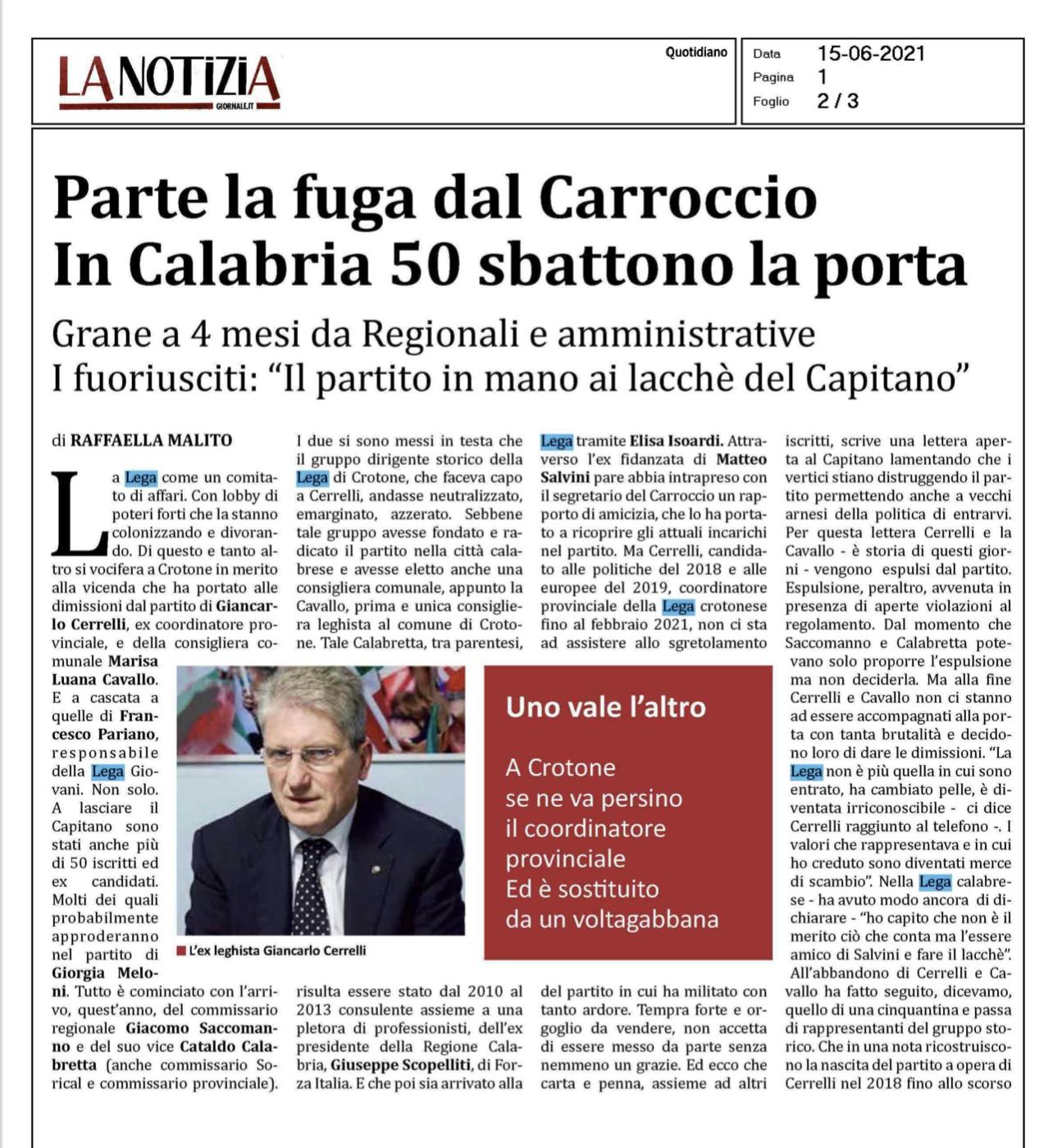 Articolo La Notizia Lega Crotone Cerrelli