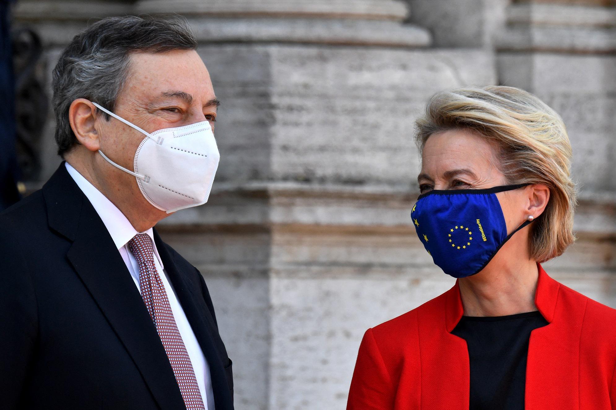Mario Draghi e la von der leyen